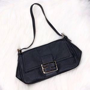 Authentic Fendi Black Leather Baguette Purse Bag